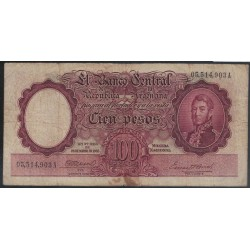 B2032 100 Pesos Ley 12155 1945 Firmas Marron