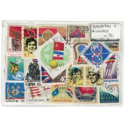 50 Estampillas Diferentes Tema Banderas y Escudos
