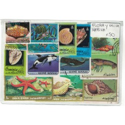 50 Estampillas Diferentes Tema Flora y Fauna Marina