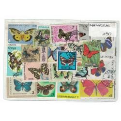 50 Estampilas Diferentes Tema Mariposas