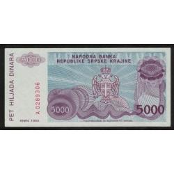 Croacia P-R20 5000 Dinara 1993 UNC