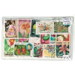 100 Estampillas Diferentes Tema Flores y Frutos