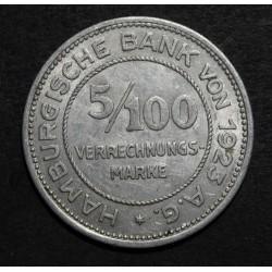 Alemania Hamburg 5/100 Marco 1923