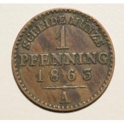 Alemania Prusia 1 Pfenning 1863A