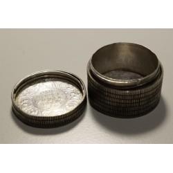 Antiguo Pastillero Numismatico de Plata