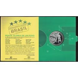 Blister Brasil KM661 5 Reales 2002 Plata Proof UNC