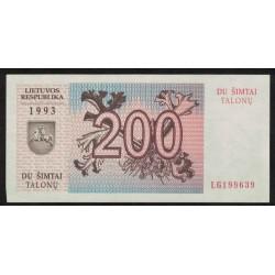 Lituania P45 200 Talonu 1993 UNC