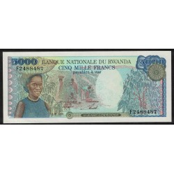 Ruanda P22a 5000 Francos 1988 UNC