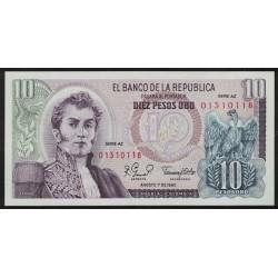 Colombia P407g 10 Pesos 1980 UNC