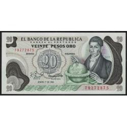 Colombia P409d 20 Pesos Oro 1981 UNC