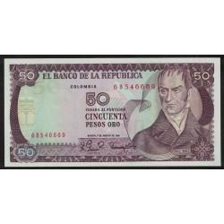 Colombia P422a 50 Pesos Oro 1981 UNC