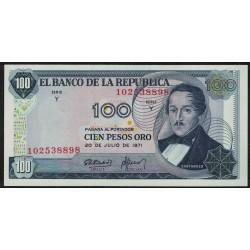 Colombia P410c 100 Pesos Oro 1971 UNC