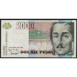 Colombia P445a 2000 Pesos 1996 UNC