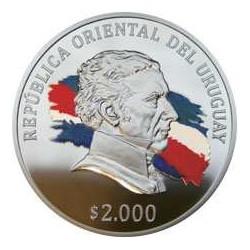 """Uruguay 2000 Pesos 2015 Plata Proof """"Bicentenario del Reglamento de Tierras..."""" UNC"""