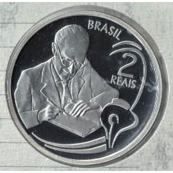 Brasil 2 Reales 2002 Plata Proof KM657 UNC