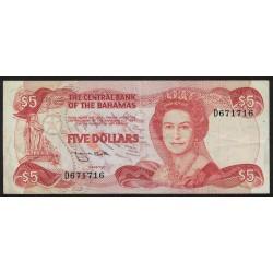 Bahamas P45b 5 Dolares 1974