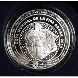 Republica Argentina 5 Pesos 2014 Copa Mundial Fifa Plata Proof UNC