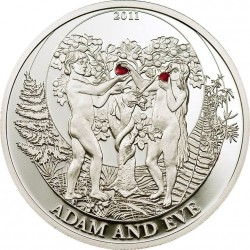 "Palau 2 Dolares 2011 ""Biblical Stories, Adam y Eva"" Plata 925 UNC"