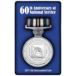 """Australia Blister 50 Centavos 2011 """"60 Aniversario del Servicio Nacional"""" Cupro Nickel UNC"""