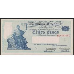 B1600 5 Pesos Caja de Conversion C 1934 UNC