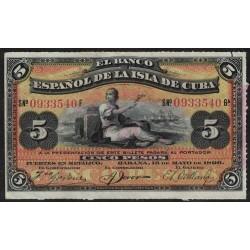 Cuba P48 5 Pesos 1896 UNC
