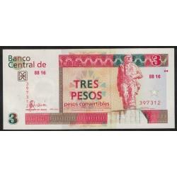 Cuba Pick FX47 3 Pesos 2006 UNC