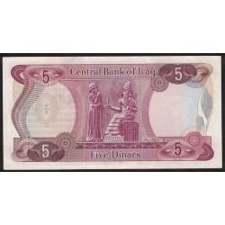 Irak P64 5 Dinars 1973 UNC