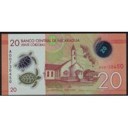 Nicaragua 20 Cordobas 2014 Polimero UNC