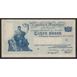 B1851 5 Pesos Progreso Ley 12.155 D 1943