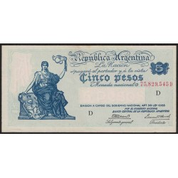 B1852 5 Pesos Progreso Ley 12.155 D 1944