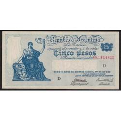 B1853 5 Pesos Progreso Ley 12.155 D 1945