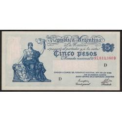 B1854 5 Pesos Progreso Ley 12.155 D 1946