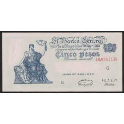 B1863 5 Pesos Progreso Leyes 12.962 y 13.571 G 1952 UNC