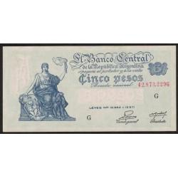 B1865 5 Pesos Progreso Leyes 12.962 y 13.571 G 1953 UNC