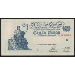 B1866 5 Pesos Progreso Leyes 12.962 y 13.571 G 1954