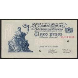 B1869 5 Pesos Progreso Leyes 12.962 y 13.571 G 1956