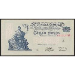 B1870 5 Pesos Progreso Leyes 12.962 y 13.571 H 1956 UNC