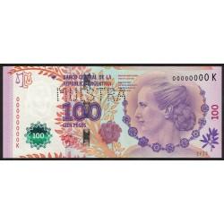 Muestra 100 Pesos Eva Peron Serie K 2014 UNC