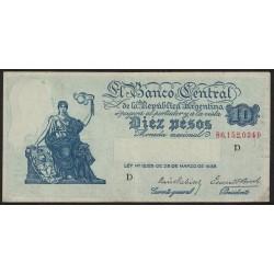B1885 10 Pesos Progreso Ley 12.155 D 1943