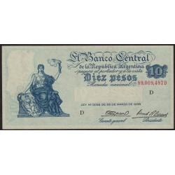 B1886 10 Pesos Progreso Ley 12.155 D 1945