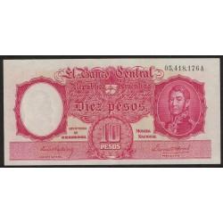 B1928 10 Pesos Ley 12.155 A 1943 Firmas en Rojo UNC