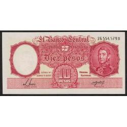 B1950 10 Pesos Leyes 12.962 y 13.571 D 1955