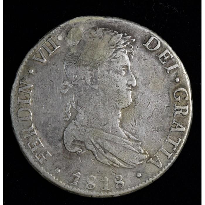 Potosi 8 Reales 1818 PJ CJ86.8 Fernando VII Perforada y Tapada