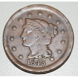 EE.UU KM67 1 Centavo 1843