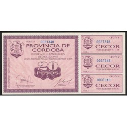 Bono C-261 Cordoba Cecor 20 Pesos UNC