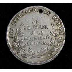 Bolivia Medalla Monetaria 1854 Plata
