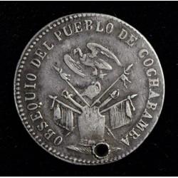 Bolivia Medalla Monetaria 1863 Plata