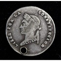 Bolivia 1/2 Sol 1854 MJ KM118.1 Perforada