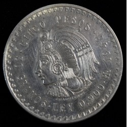 Mexico 5 Pesos 1948 KM465 Plata