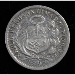 Perú 1/2 Dinero 1897 JF KM206.2